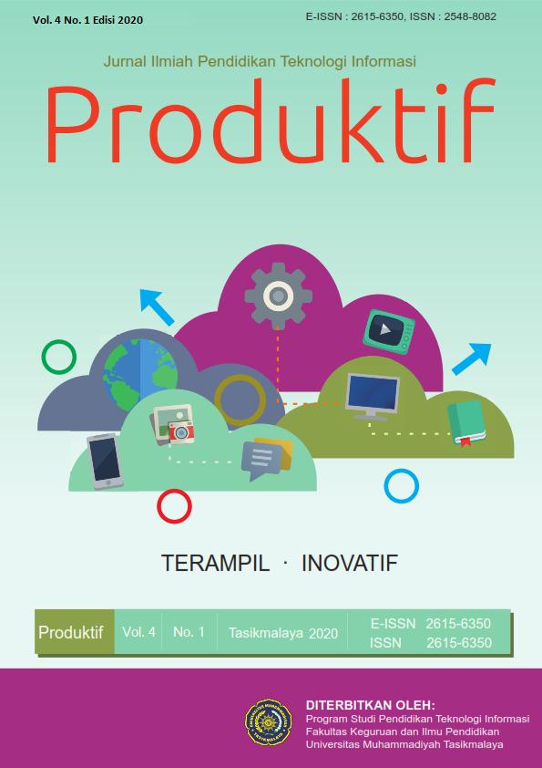 View Vol. 4 No. 1 (2020): Produktif: Jurnal Ilmiah Pendidikan Teknologi Informasi