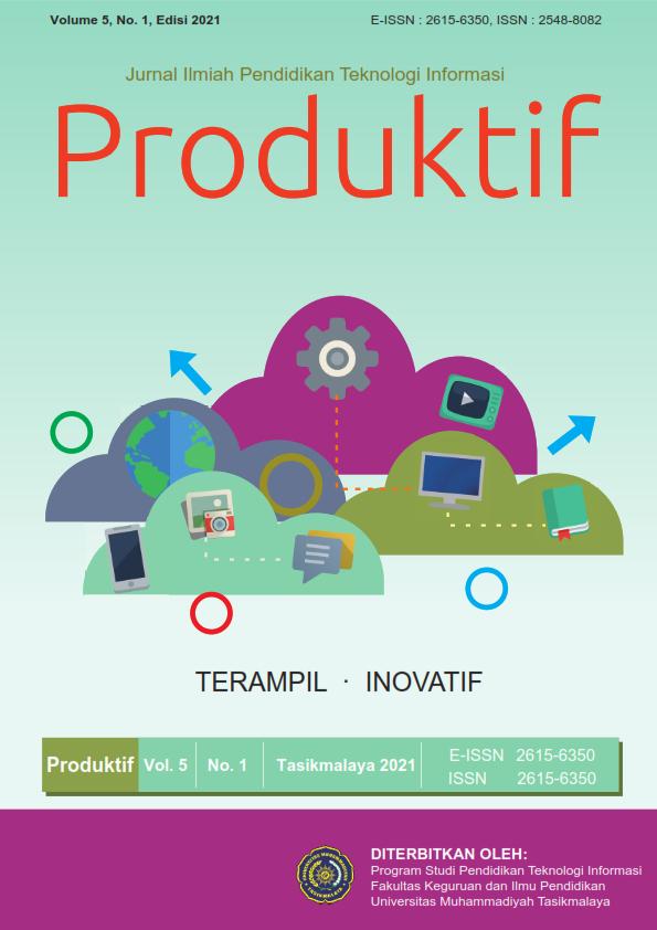 View Vol. 5 No. 1 (2021): Produktif: Jurnal Ilmiah Pendidikan Teknologi Informasi